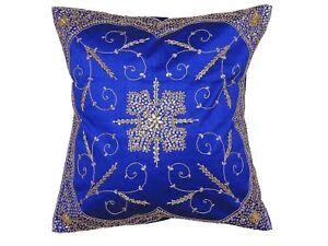 "Decorative Blue Beaded Handmade Pillow Cover Floor Lounge Large Euro Cushion 26"""