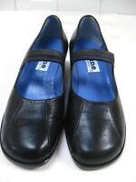 Ladies black leather DUNE shoes mary janes wedges size UK 5 38 wedge heels smart