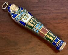 GOLD STERLING ENAMEL Pharaoh Mummy PENCIL Chatelaine Watch Fob ANTIQUE EGYPTIAN