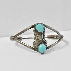 "Vintage Sterling Silver Turquoise Navajo Cuff Bracelet 10.2G 5"" + 1"""