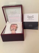 Arbutus Automatic Pink Leather Band Ladies Watch