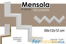 MENSOLA DA PARETE IN LEGNO BIANCA A SCALA CON KIT MONTAGGIO 59X12X12 CM 621765