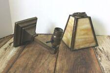 Antique Vintage Arts & Crafts Mission Metal Sconce w/Slag Glass