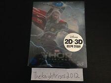 MARVEL THOR THE DARK WORLD Blu-Ray 3D+2D Korea STEELBOOK Full Slipcover Clear