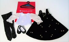 American Girl Doll Snowflake Jumper Serenade Outfit Black Dress Top Tights Shoes