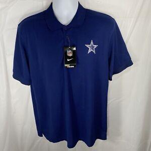 Nike Dallas Cowboys Mens XL NFL Short Sleeve Navy Blue Polo Button Up Shirt NWT