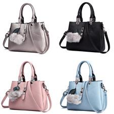 Ladies Celebrity Handbag PU Leather Slouchy Hobo Tote Shoulder Bag Pompom