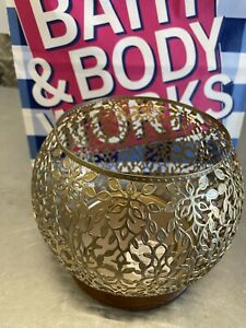 BATH BODY WORKS GOLD VINE LEAF WOOD BASE LARGE CANDLE HOLDER SLEEVE 3 WICK 14.5