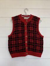 L.L. Bean Plaid Vest Vintage Ladies Wool Sz Small Red Black