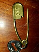 One Brass Safety Pin Key Tag Duffel Laundry Horse Bag Key Ring from 1930s