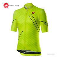 NEW Castelli PASSO Short Sleeve Full Zip Cycling Jersey : YELLOW FLUO