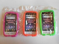 (LOT OF 3) NEW Silicone SOFT Case ORANGE GREEN and PINK for LG Optimus M MS690