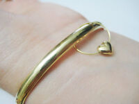 vintage 14k solid yellow gold bangle with heart charm