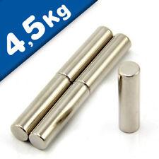 Cylindre Magnétique Ø 10 x 40 mm Néodyme N40, Nickelé - force 4,5 kg