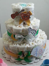 3 Tier Diaper Cake Hey Diddle Nursery Rhyme Baby Shower Centerpiece - Girl Boy