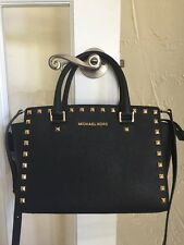 Michael Kors Selma Stud Medium TZ Satchel Black Gold