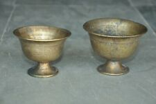 2 Pc Old Brass Inlay Engraved Unique Ice Cream Bowls,Rich Patina