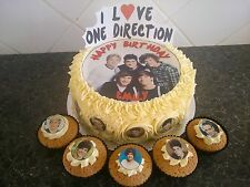 One Direction Cake Decoration Set + 10 Edible Cupcake Toppers - Personalised OD2