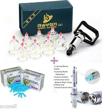 Medical 10Cups + 3-Pin Bleeding Pen + 2Needle Boxes Wet Cupping Hijama A2 Hansol