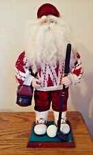 """Santa Golfer Doll Old World White & Red Golf Clothes Shoes 17"""" tall  6"""" Base"""