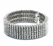 "Mens Silver Plated Clear Cz Stones 6 Rows Hip Hop Bracelet 8.5"" Inches"