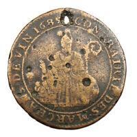 Jeton Confrérie des marchands de vin frappé en 1689 Saint Nicolas Token France