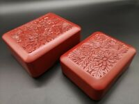 Vintage Carved Flower Red Cinnabar Lacquer Food Bento 2 pics