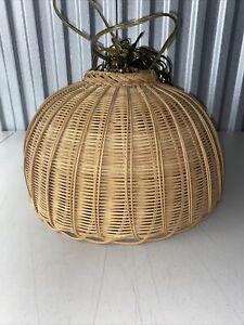 "Vintage Wicker Woven Hanging Lamp Light Pendant Shade Basket Weave 16"" Wide"