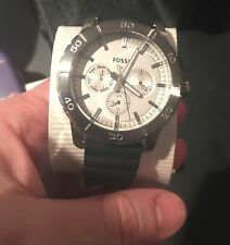 New Fossil BQ16231002 Chronograph Stainless Steel Mens Black Silicone Band Watch