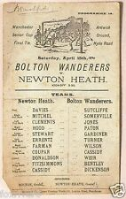 BOLTON WANDERERS v NEWTON HEATH (Manchester United) 1892 Programme reprint