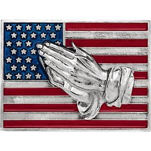 14K White Gold American Flag with Praying Hands Lapel Pin