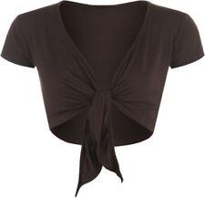Camisas y tops de mujer de manga corta marrón, talla 38
