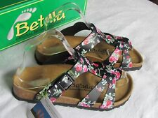 9c8bf48a23a8 NEW Betula By Birkenstock Black Pink Floral Ladies Mules Sandals Size 3.5  EU 36