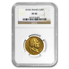 1818-A France Gold 40 Francs Louis XVIII XF-45 NGC