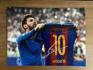 LIONEL MESSI signed 12x16 photo FC Barcelona Auto Autograph Icons Authentic