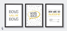 Boys bedroom grey and yellow A4 Prints -  Boys rule, boys will be boys!