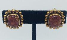 Stephen Dweck Vintage Sterling Silver & Bronze Carved Crystal Flower Earrings