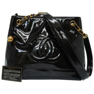 Auth CHANEL Chain Sholder Bag Patent Leather Black color CC U2608EAI5