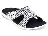 Women's Spenco Total Support Orthotic Slide Sandals Floral Gingham Black Sz 5