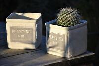 Übertöpfe,Planting,Landhaus,weiß/grau,eckig,2er Set,14cm