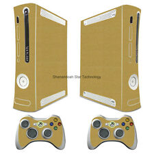 WY94 Brushed Gold Metal decal Sticker for xbox360 Console + 2 controller skins