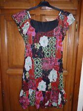 Robe Tunique fleurie rouge rose vert T 3 38/40