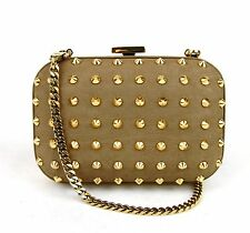 $1750 New Gucci Broadway Leather Studded Evening Bag Clutch Brown 297416 2814