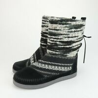 Toms Womens Nepal Knit Black Suede Leather Sweater Boots Size 8 Ties Boho