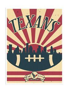 "Houston Texans Poster Print Sunset Wall Art Man Cave Decor 12x16"""