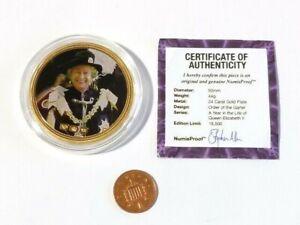 Numisproof Proof Gold Plated Pictorial Medal Order of Garter  Elizabeth II