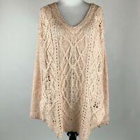 Braeve Women Peach Knit Long Sleeve V Neck Sweater sz M
