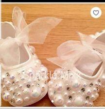 baby girl sparkle diamond crystal pram/christening/wedding shoes