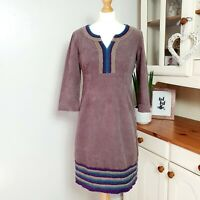 BODEN (UK Size 10) Brown with Purple & Blue Trim Corduroy Shift Tunic Dress Boho
