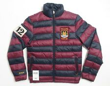 Polo Ralph Lauren - Down Puffer Jacket Coat Parka - Navy Maroon Striped - XS